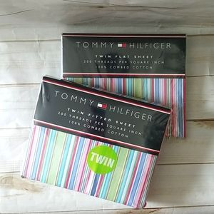Tommy Hilfiger twin fitted & flat sheets
